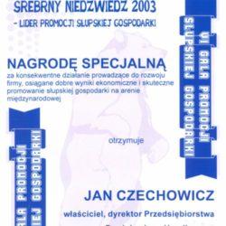 Srebrny Niedźwiedź 2003 Lider Promocji Słupskiej Gospodarki Nagroda Specjalna