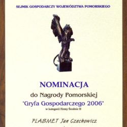 Nagroda Pomorska Gryf Gospodarczy 2006 - nominacja